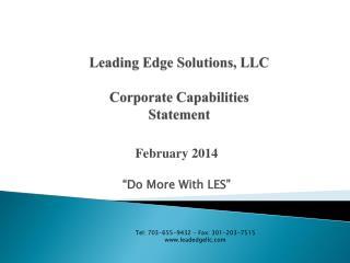 Leading Edge Solutions, LLC Corporate Capabilities Statement