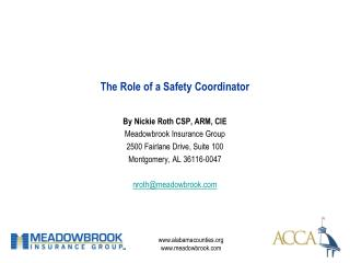 The Role of a Safety Coordinator