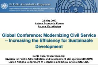 Global Conference: Modernizing Civil Service – Increasing the Efficiency for Sustainable Development