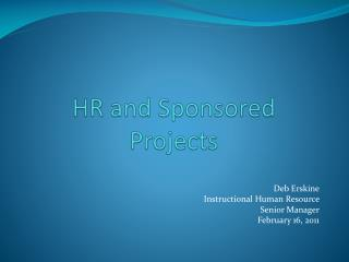 HR and Sponsored Projects