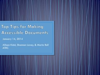 Top Tips for Making Accessible Documents
