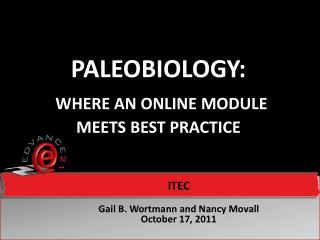 Paleobiology : Where An Online Module          Meets  Best Practice
