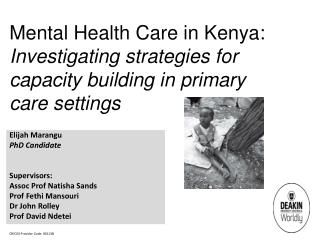 Mental Health  Care  in  Kenya:  Investigating strategies for capacity building in primary care  settings