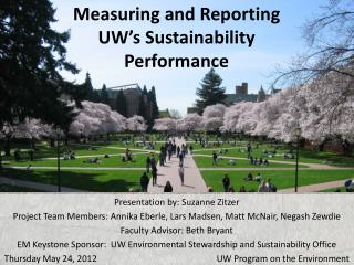Measuring and Reporting UW's Sustainability Performance