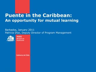 Puente in the Caribbean:  An opportunity for mutual learning Barbados,  January  2011 Patricia Díaz,  Deputy  Director