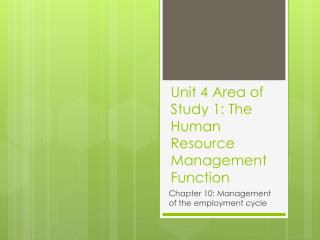 Unit 4 Area of Study 1: The Human Resource Management Function