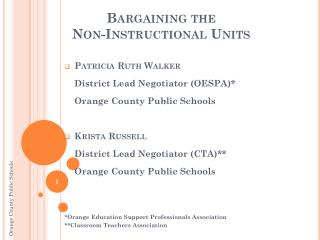 Bargaining the Non-Instructional Units
