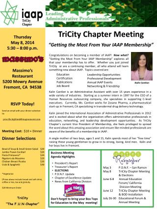 "TriCity Chapter Meeting c ""Getting the Most From Your IAAP Membership"""