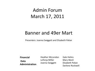 Admin Forum March 17, 2011