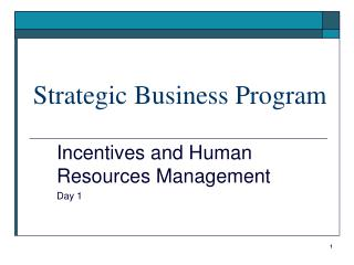 Strategic Business Program