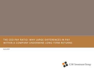 The CEO Pay Ratio: Why Large Differences in Pay Within a Company Undermine Long-Term Returns