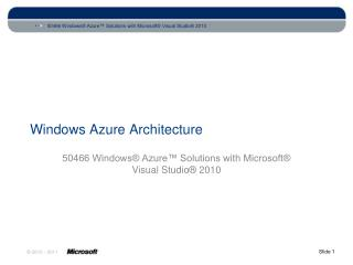 Windows Azure Architecture