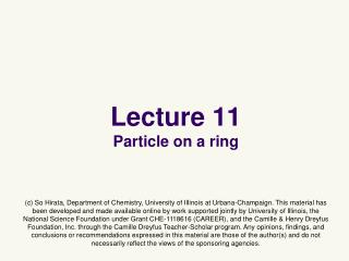 Lecture 11 Particle on a ring