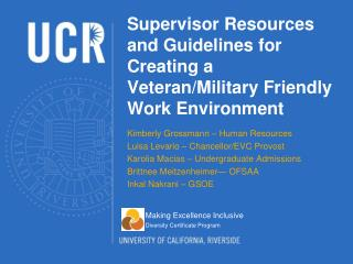 Supervisor Resources and Guidelines for Creating a Veteran/Military Friendly Work Environment