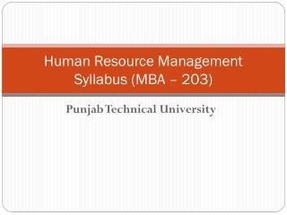 Human Resource Management Syllabus (MBA – 203)