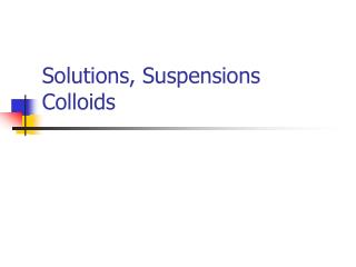 Solutions, Suspensions Colloids