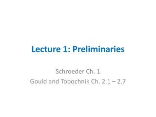 Lecture 1: Preliminaries