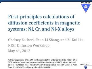 First-principles calculations of diffusion coefficients in magnetic systems: Ni, Cr, and Ni-X alloys
