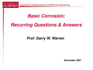 basic corrosion:   recurring questions  answers