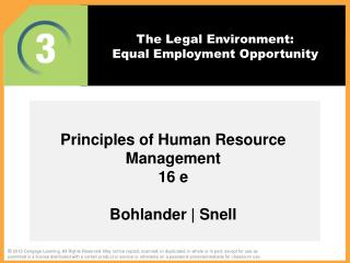 The Legal  Environment:  Equal Employment Opportunity