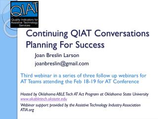 Continuing QIAT  Conversations Planning  For Success
