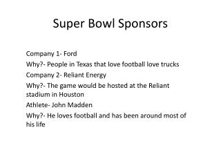 Super Bowl Sponsors