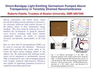 Strained Germanium  Nanomembrane  Characterization  Roberto  Paiella , Trustees of Boston University, DMR 0907296
