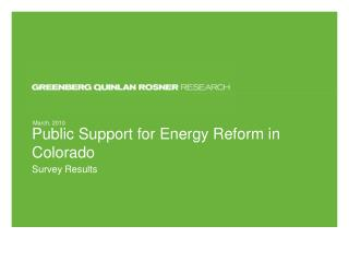 Public Support for Energy Reform in Colorado