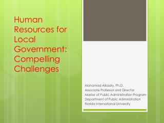 Human Resources for Local Government: Compelling Challenges