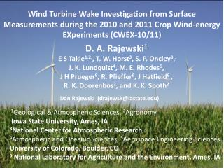 Wind Turbine Wake Investigation from Surface Measurements during the 2010 and 2011 Crop Wind-energy EXperiments (CWEX-1