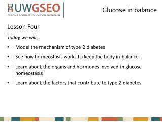 Glucose in balance