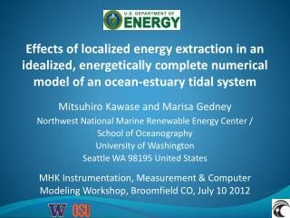 Effects of localized energy extraction in an idealized, energetically complete numerical model of an ocean-estuary tida