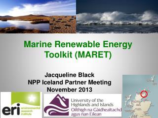 Marine Renewable Energy  Toolkit (MARET)