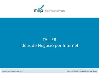 TALLER Ideas de Negocio por Internet