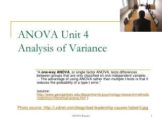 anova unit 4  analysis of variance