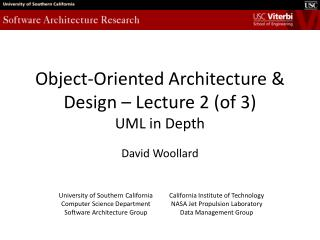 Object-Oriented Architecture & Design – Lecture 2 (of 3) UML in Depth