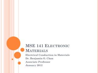 MSE 141 Electronic Materials