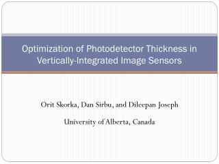 Optimization of Photodetector Thickness in Vertically-Integrated Image Sensors