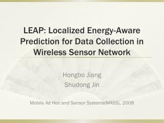LEAP: Localized Energy-Aware Prediction for Data Collection in Wireless Sensor Network