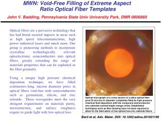 MWN : Void-Free  Filling of Extreme Aspect  Ratio Optical Fiber Templates John V. Badding,  Pennsylvania State Univ Uni