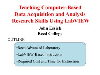 Teaching Computer-Based Data Acquisition and Analysis  Research Skills Using LabVIEW