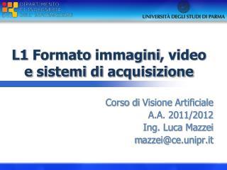 L1  Formato immagini , video e  sistemi  di  acquisizione