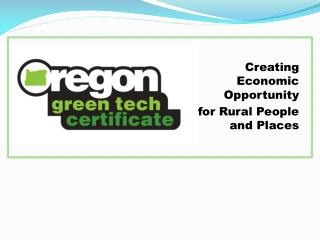 Creating Economic Opportunity for Rural People and Places