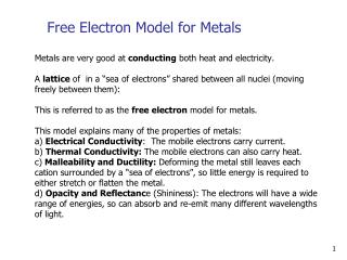Free Electron Model for Metals