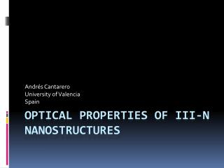 Optical properties of iii-n nanostructures