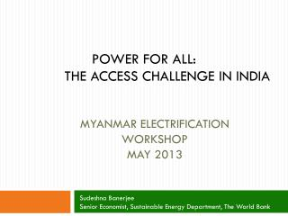 MyanMAR  ELECTRIFICATION WORKSHOP MAY 2013