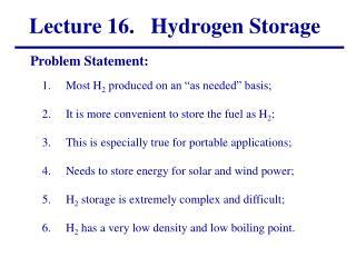 Lecture 16.   Hydrogen Storage