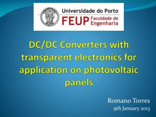 DC/DC Converters with transparent electronics for application on photovoltaic panels