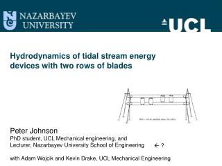 Hydrodynamics of tidal stream energy  devices with  two rows of  blades