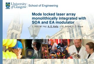 Mode locked  l aser  a rray monolithically  i ntegrated with SOA and EA modulator